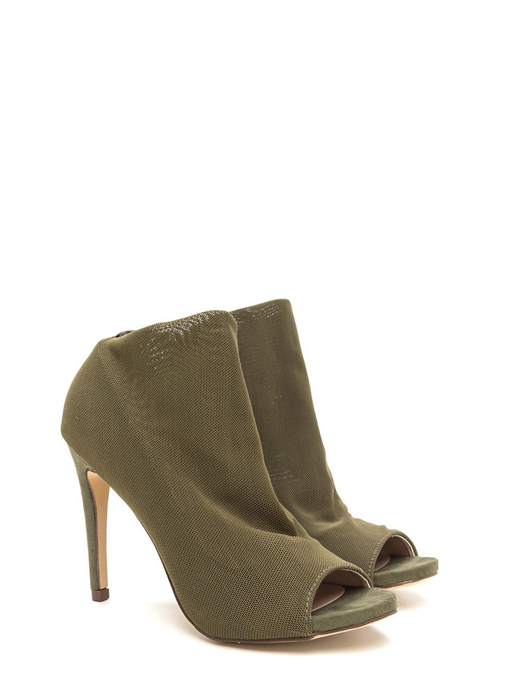 What A Hot Mesh Netted Peep-Toe Booties OLIVE