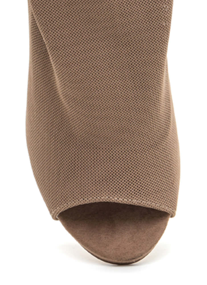 What A Hot Mesh Netted Peep-Toe Booties TAUPE