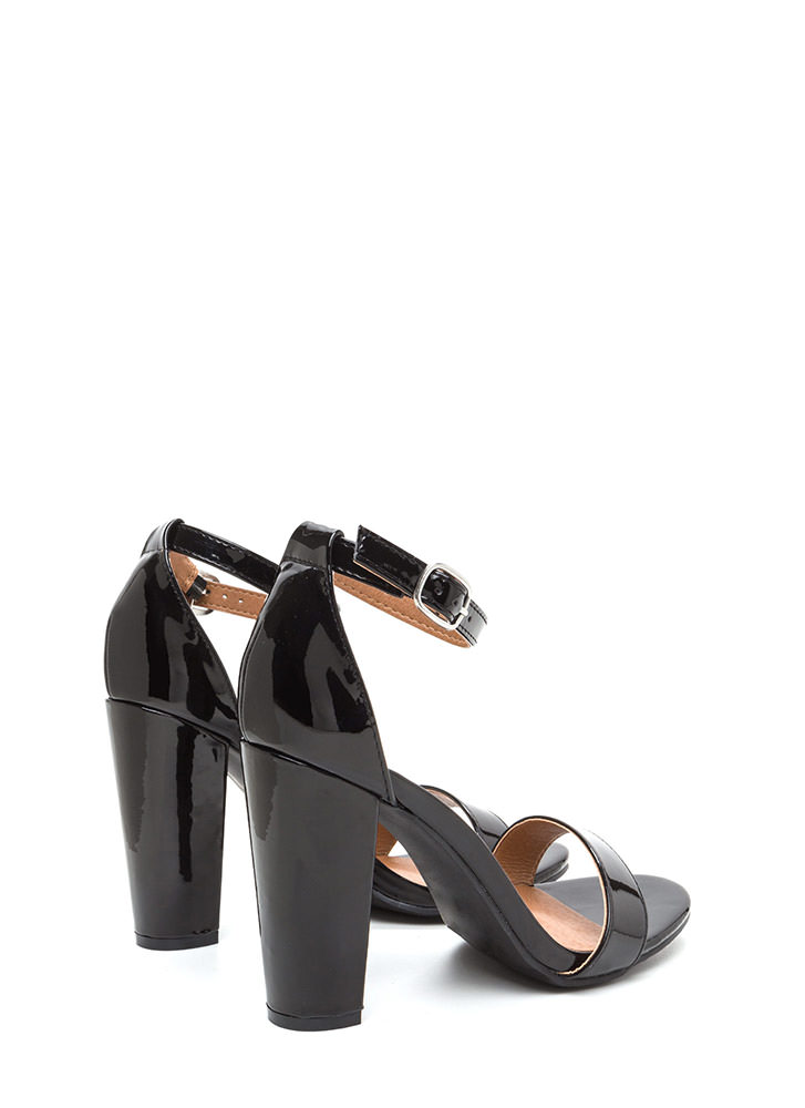 Gift To Myself Faux Patent Chunky Heels BLACK