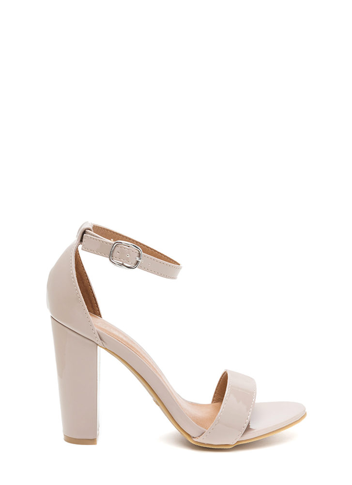 Gift To Myself Faux Patent Chunky Heels NUDE