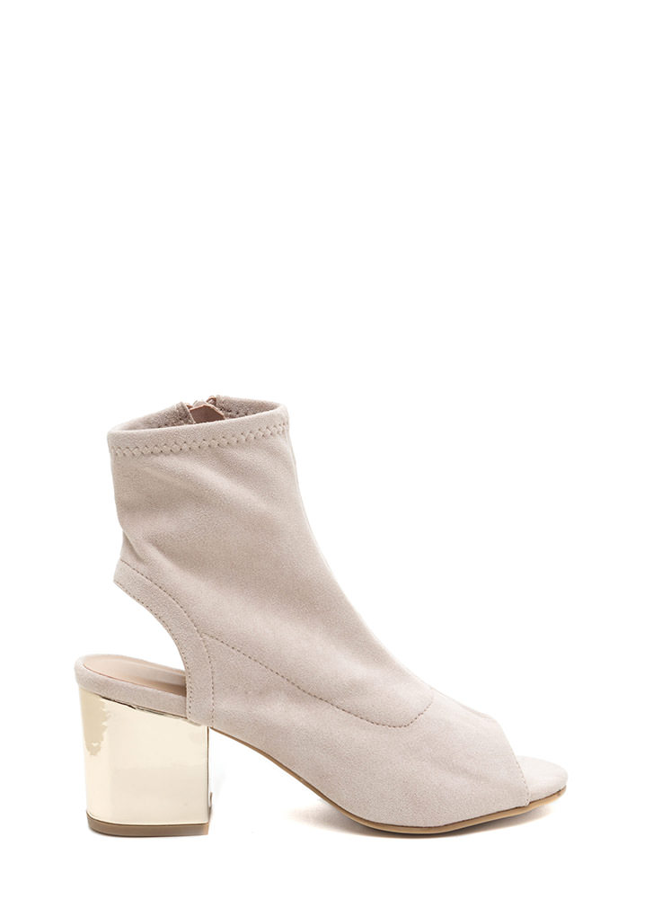 Glow Get 'Em Chunky Faux Suede Booties IVORY