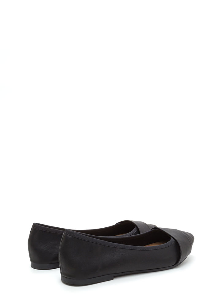 Good Choice Pointy Faux Leather Flats BLACK