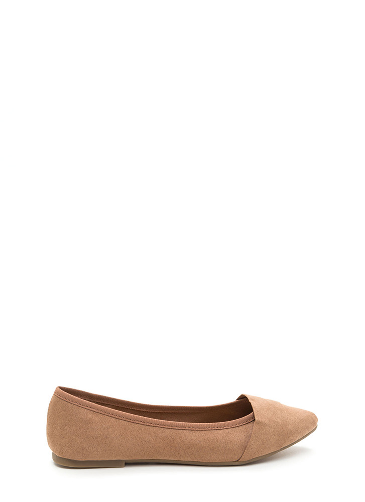 Good Choice Pointy Faux Suede Flats CAMEL