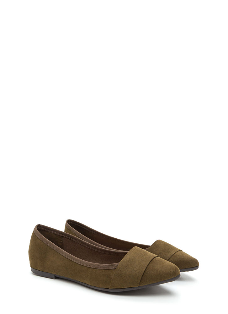 Good Choice Pointy Faux Suede Flats OLIVE