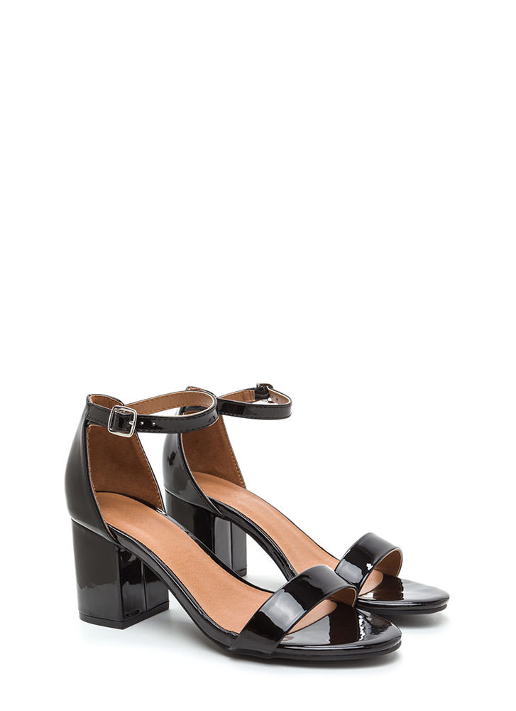 So Blocked Faux Patent Chunky Heels BLACK