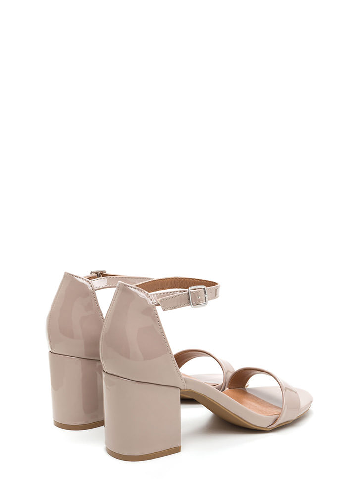 So Blocked Faux Patent Chunky Heels NUDE