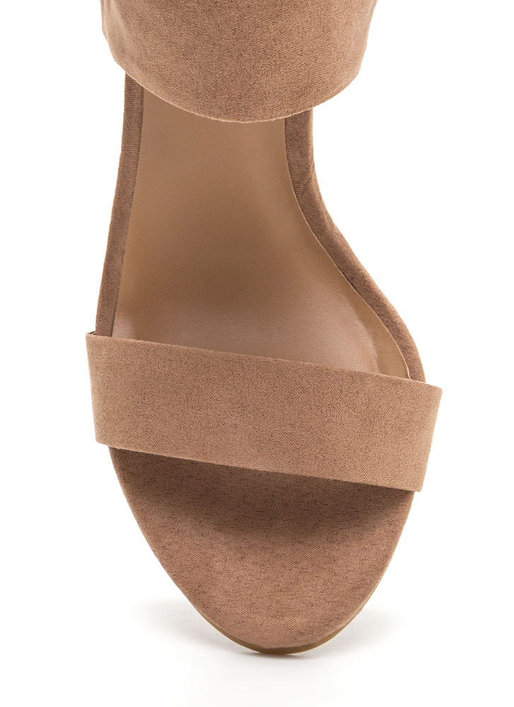 Laced The Test Faux Suede Heels CAMEL