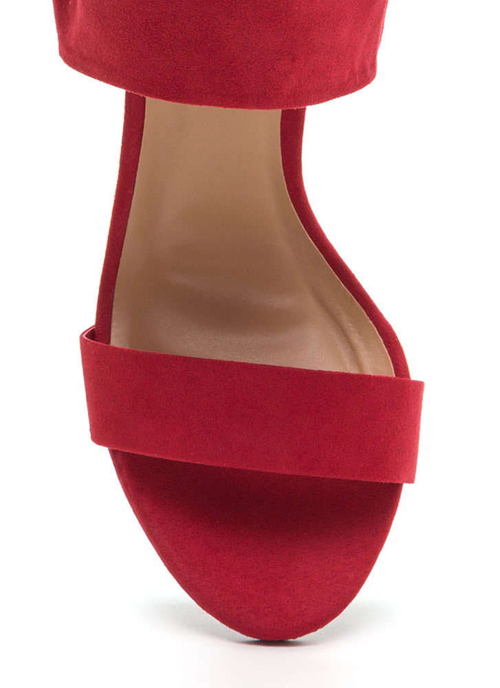Laced The Test Faux Suede Heels RED