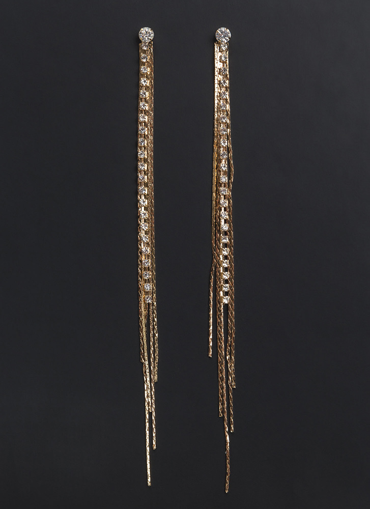 Precious Memory Sparkly Fringe Earrings GOLD