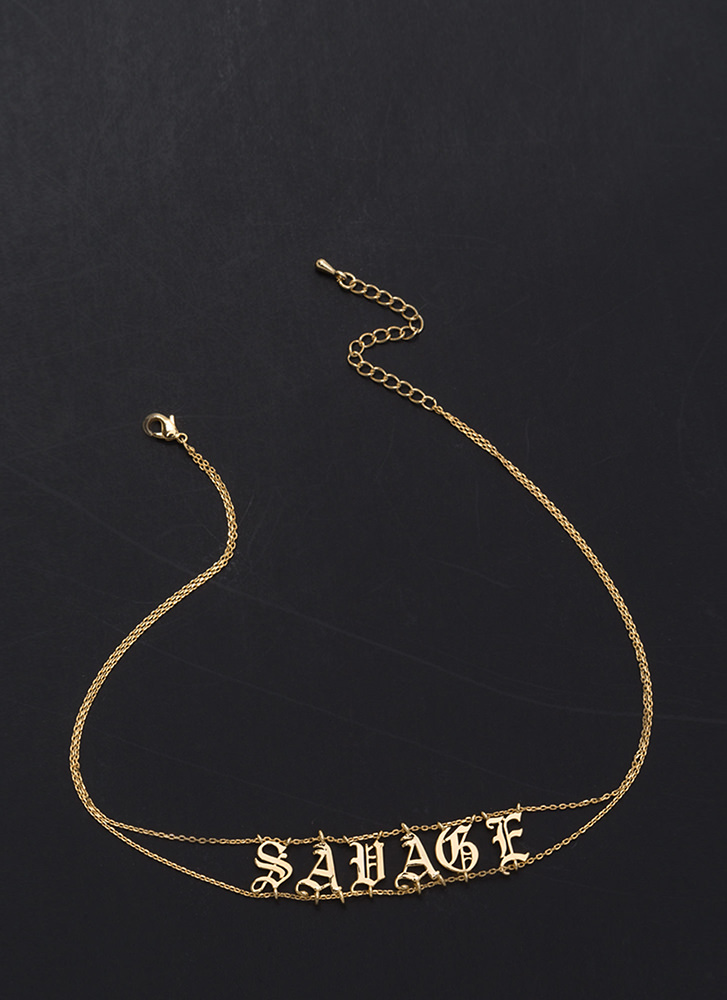 Totally Savage Double Chain Choker GOLD