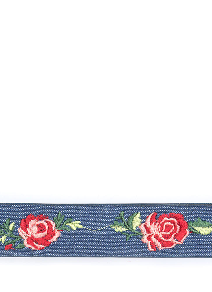 Finest Flower Embroidered Denim Choker DKBLUE