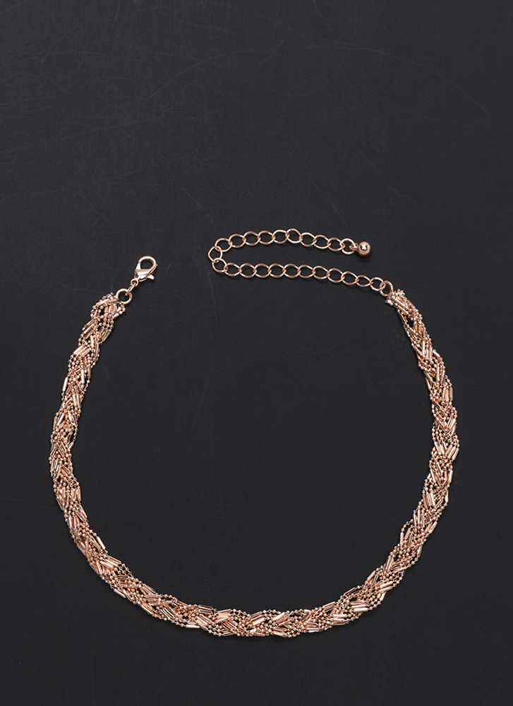 Weave In The Dust Glitzy Chain Necklace ROSEGOLD