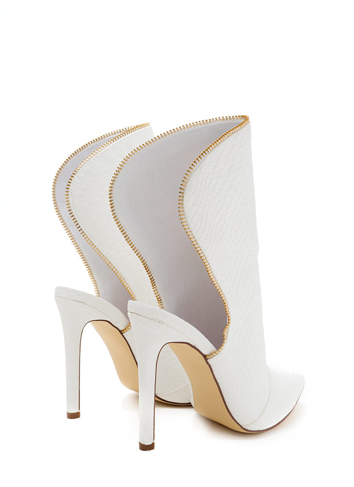 Backless Booties Scaled Zipper Heels WHITE