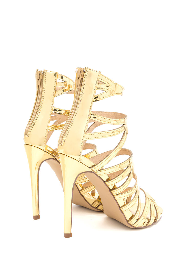Set Off A Flare Metallic Cut-Out Heels GOLD