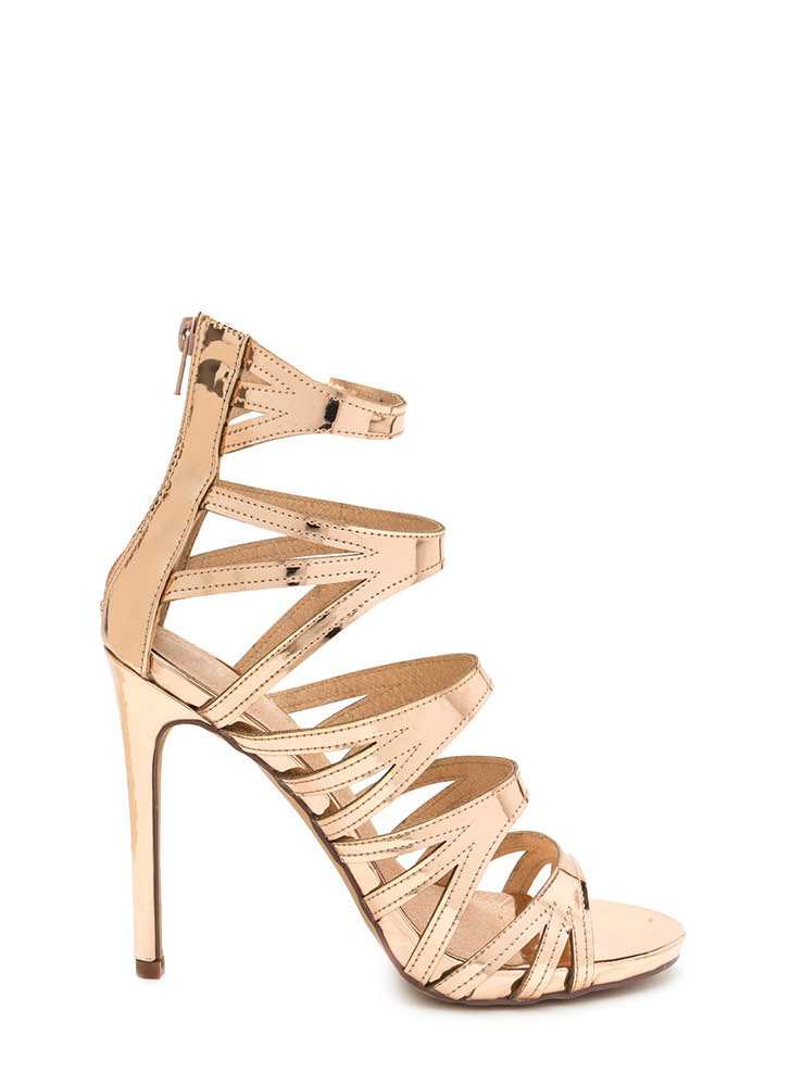 Set Off A Flare Metallic Cut-Out Heels ROSEGOLD