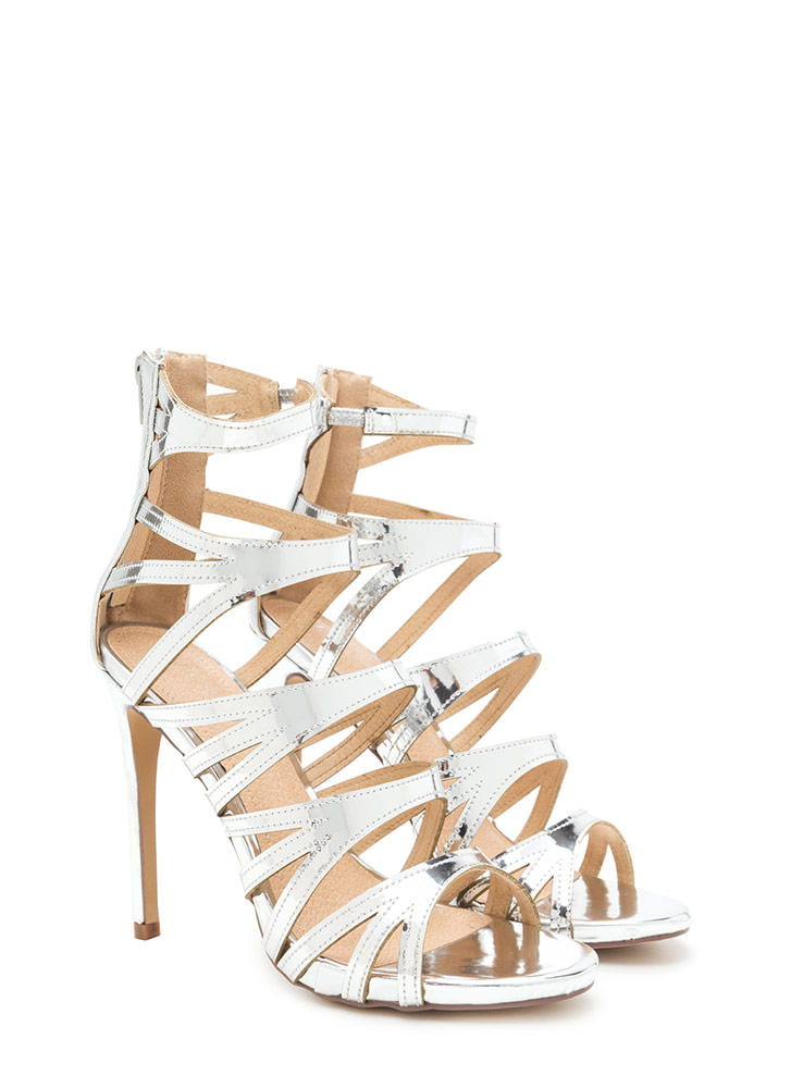 Set Off A Flare Metallic Cut-Out Heels SILVER