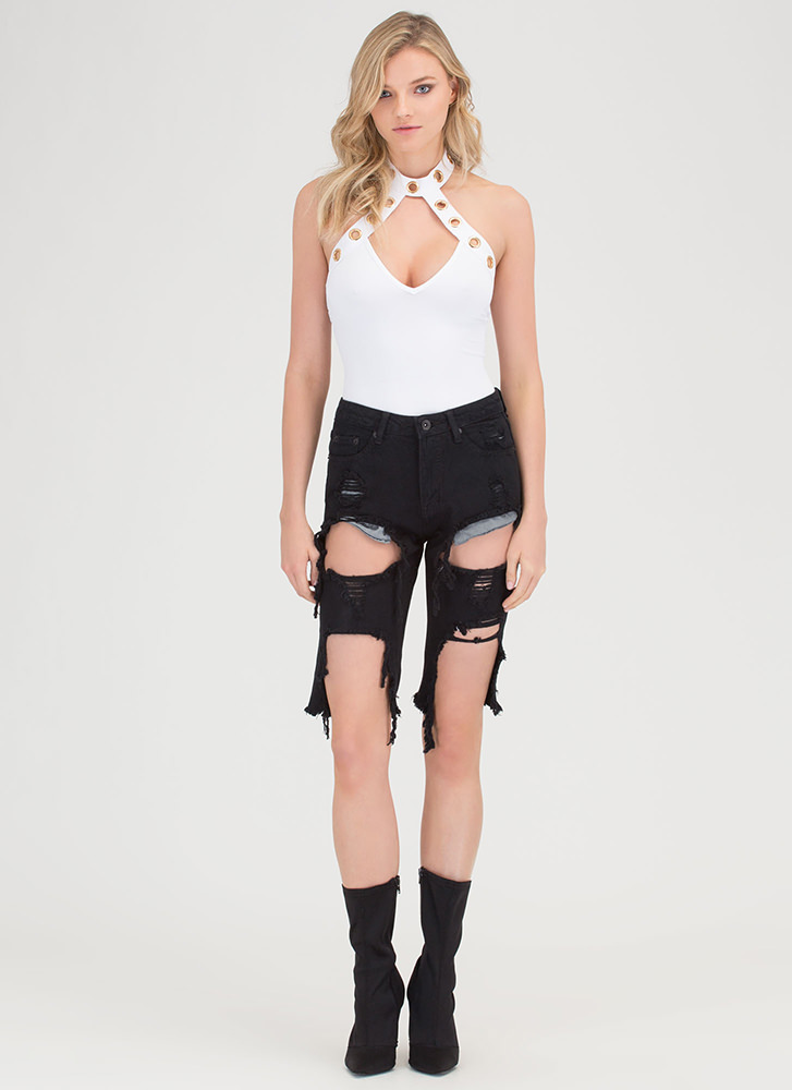 Hole Picture Cut-Out Choker Bodysuit WHITE