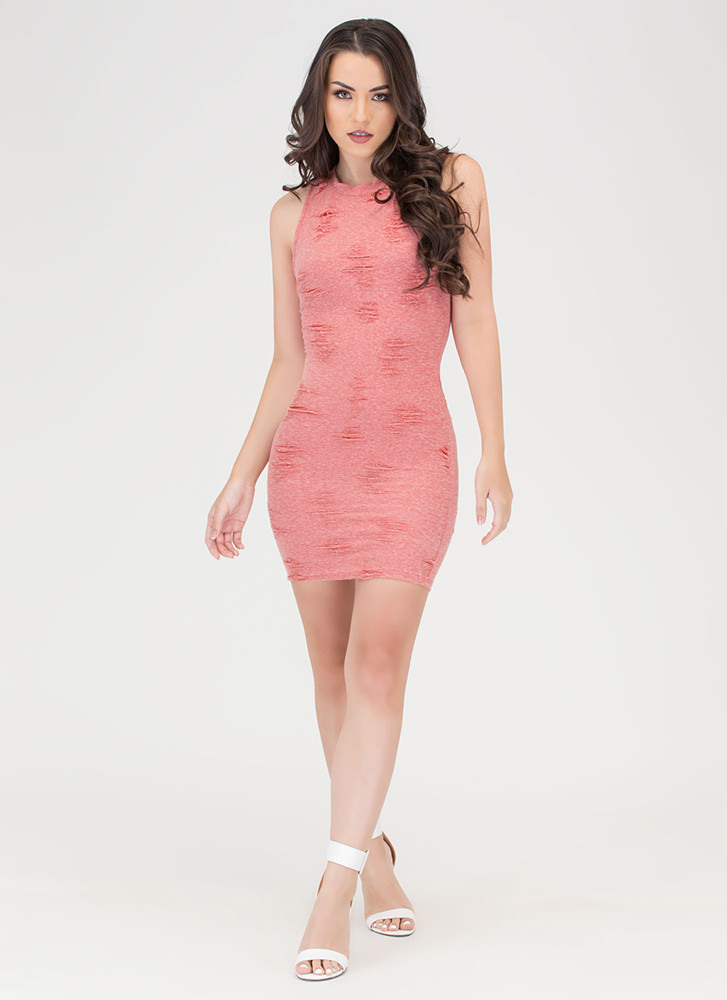 Fray Day Textured Sleeveless Dress CORAL