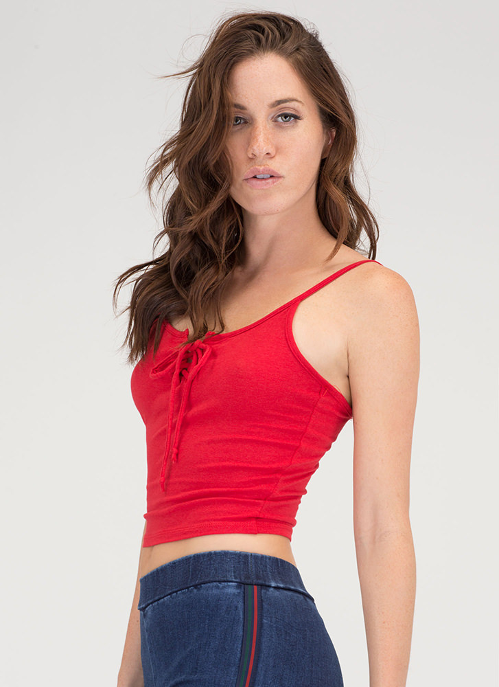Basic Need Lace-Up Cropped Tank RED