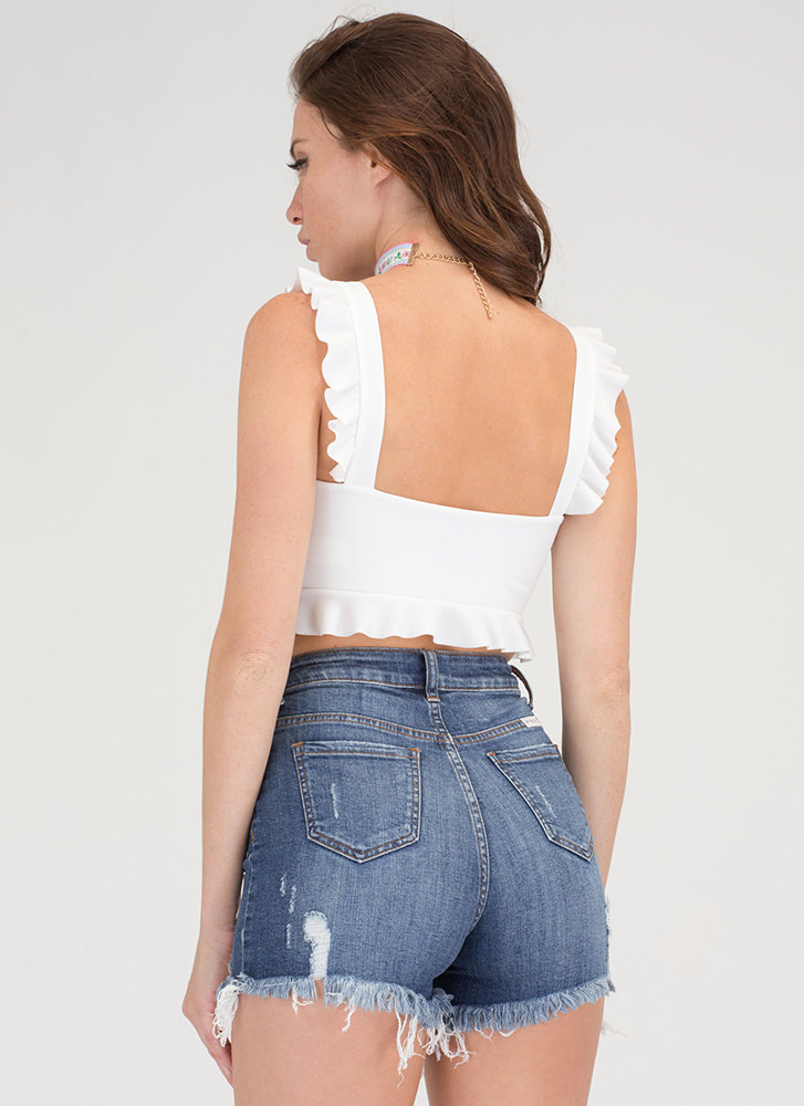 What A Frill Ruffle Strap Crop Top IVORY