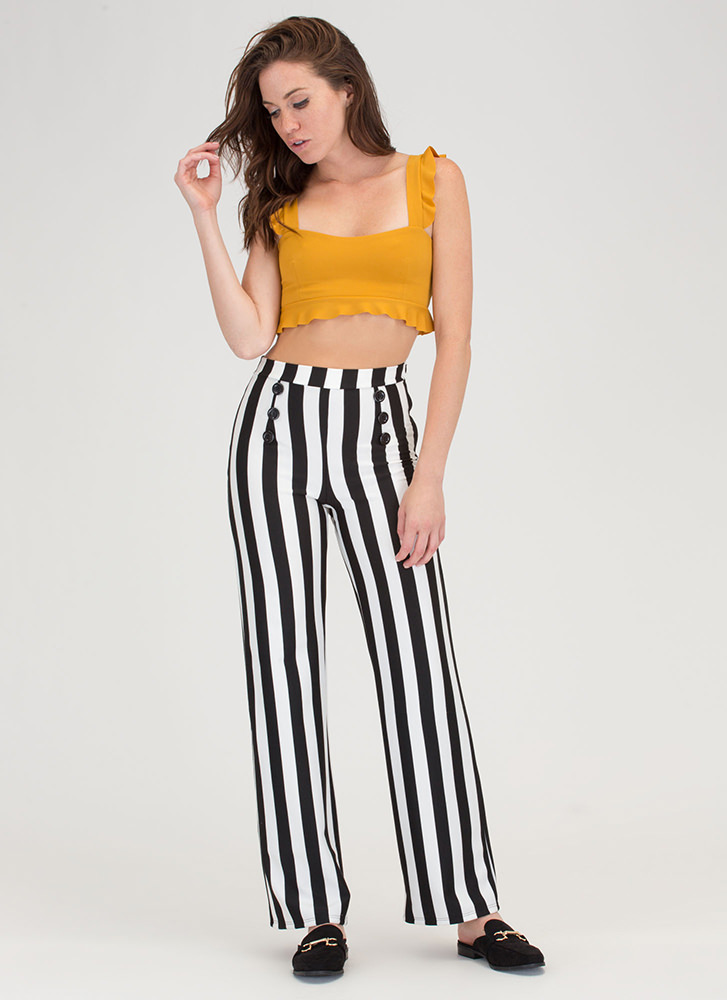 What A Frill Ruffle Strap Crop Top MUSTARD