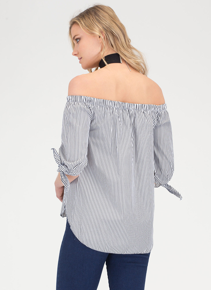 Awesome Blossom Striped Off-Shoulder Top BLACK