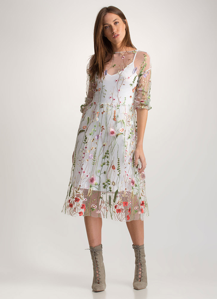 Floral Aura Sheer Embroidered Dress WHITE