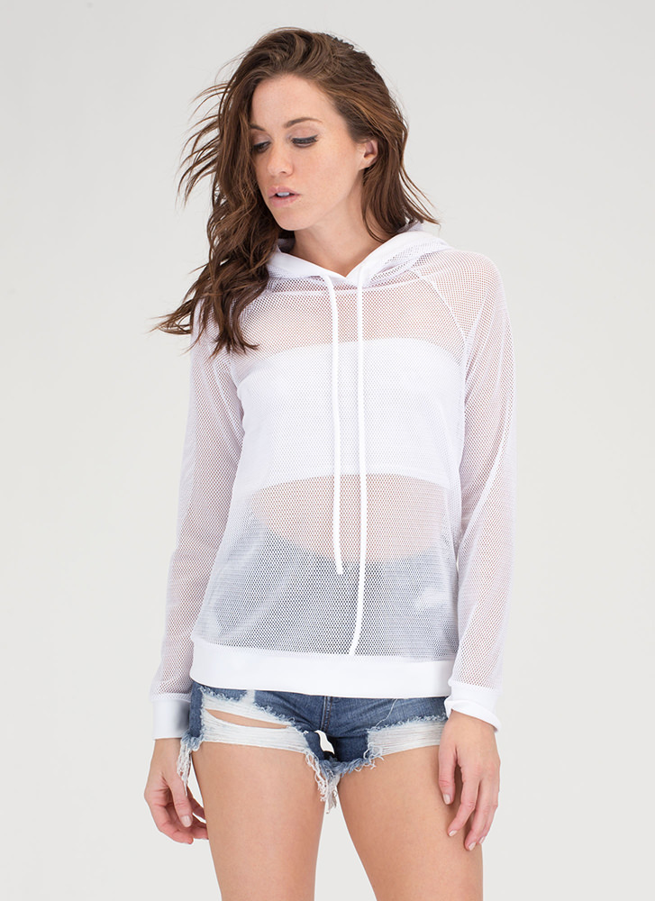 Just For Sport Netted Mesh Hoodie WHITE