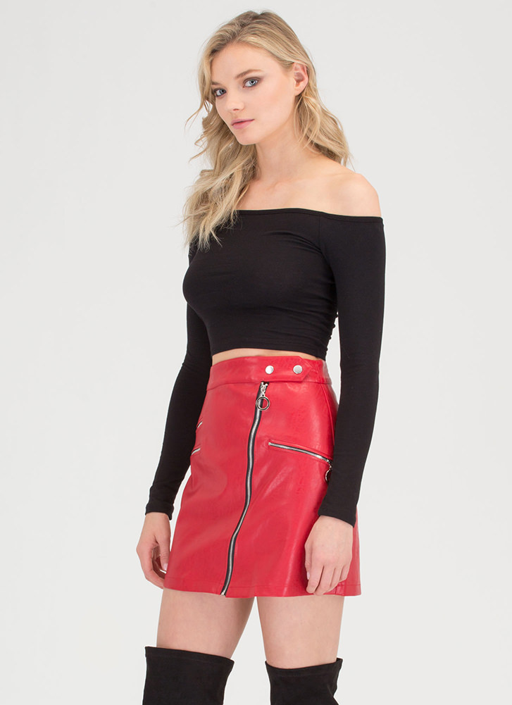 Moto Chic Zippered Faux Leather Skirt RED