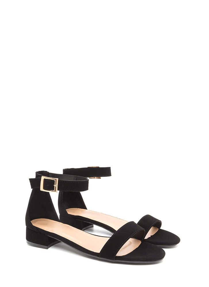 Low Key Chic Faux Nubuck Sandals BLACK