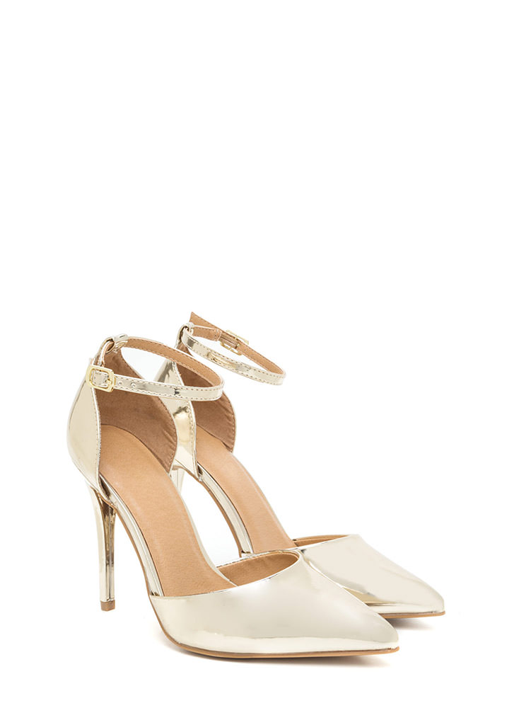 Perfect Gleam Pointy Metallic Heels GOLD