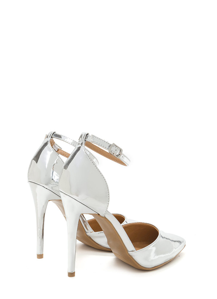 Perfect Gleam Pointy Metallic Heels SILVER