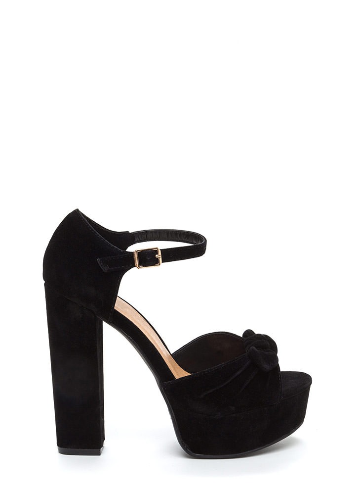 Bow Yes Faux Suede Chunky Heels BLACK