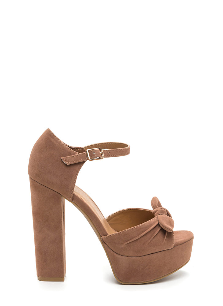 Bow Yes Faux Suede Chunky Heels CAMEL
