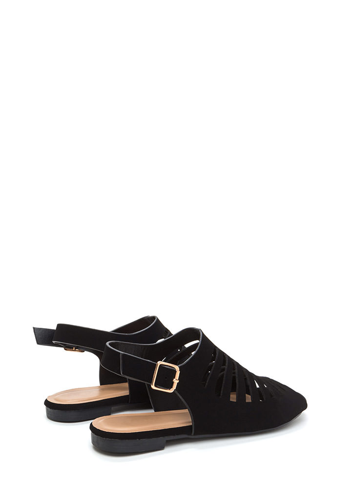 Top Of The Line Cut-Out Caged Sandals BLACK