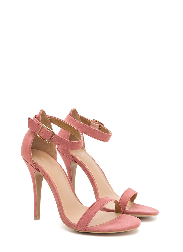 That Was Easy Strappy Faux Suede Heels DKMAUVE