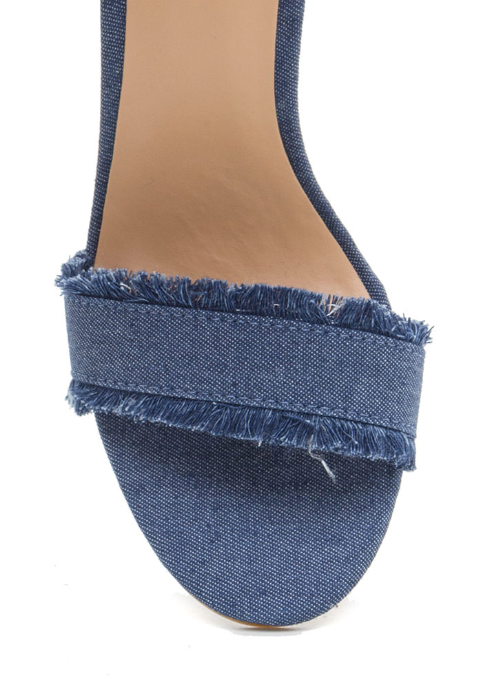 Fringe Forever Distressed Denim Heels BLUE