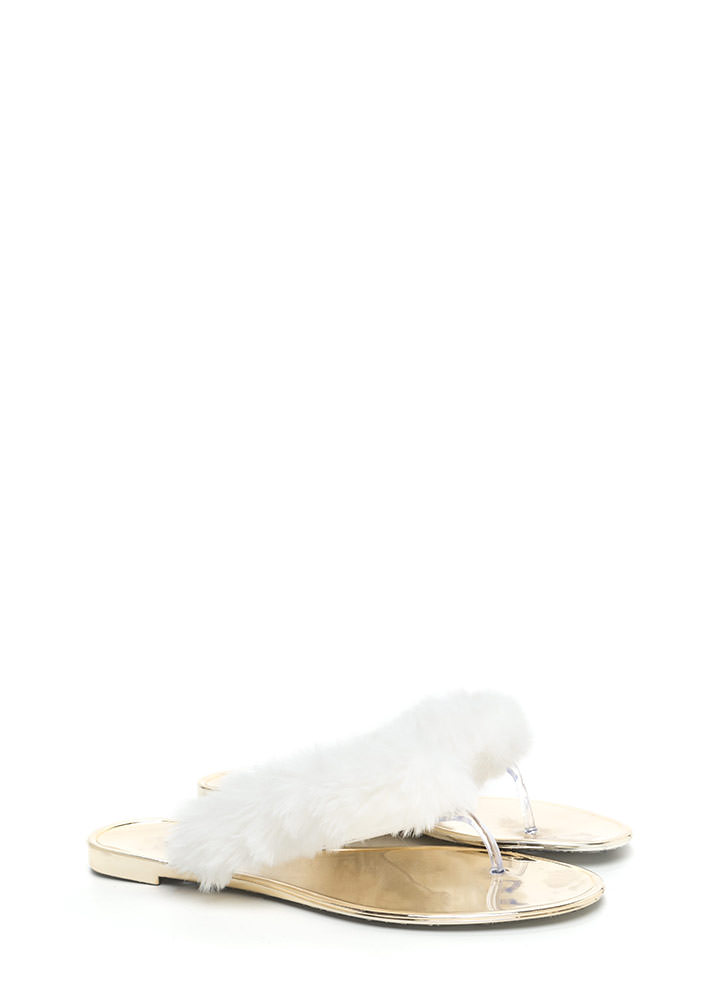 Fur-Ever And Ever Jelly Thong Sandals WHITE