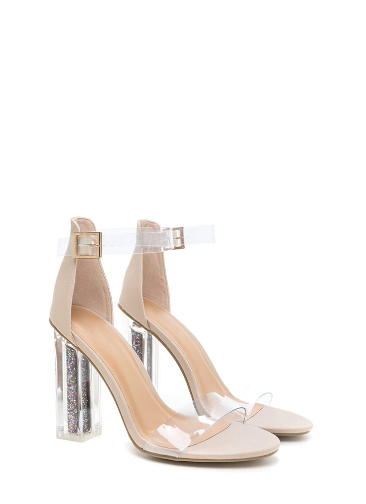 Glitter Bomb Chunky Faux Leather Heels NUDE