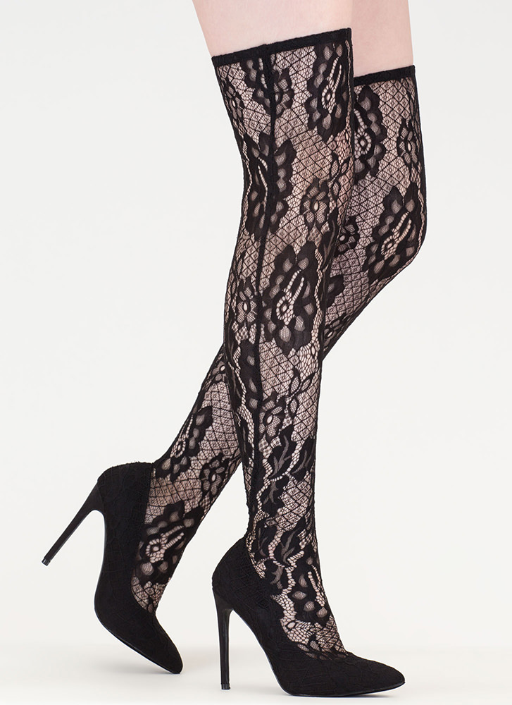 All About Lace Pointy Thigh-High Boots BLACK
