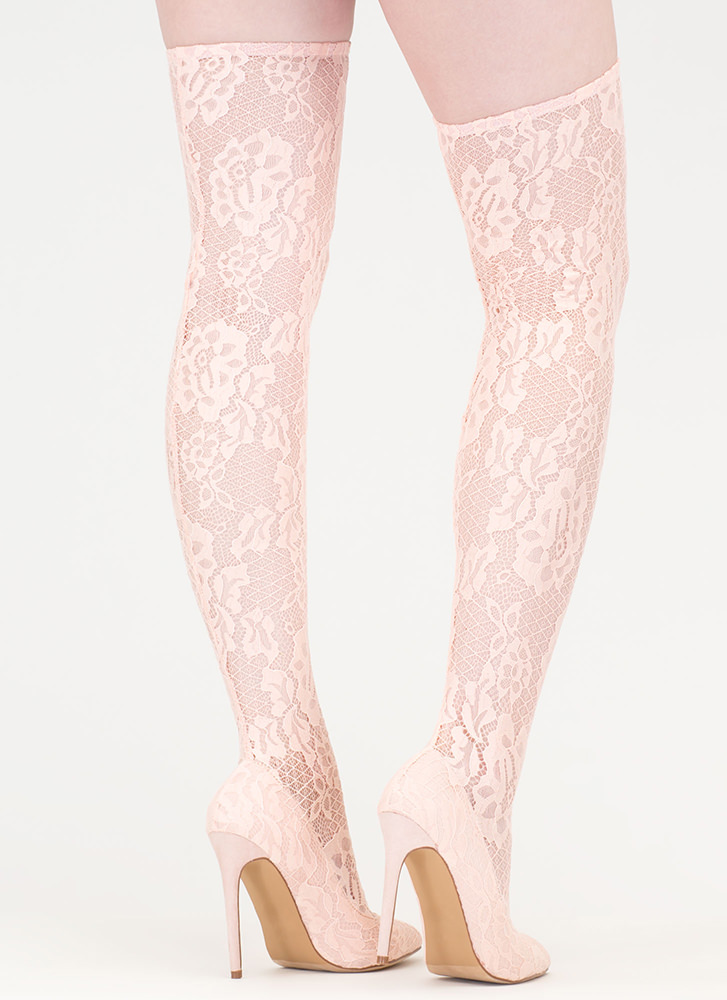 All About Lace Pointy Thigh-High Boots NUDE