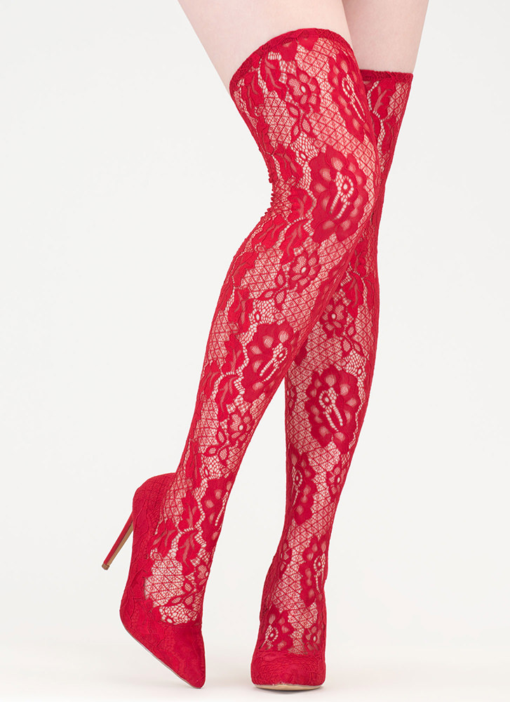 All About Lace Pointy Thigh-High Boots RED