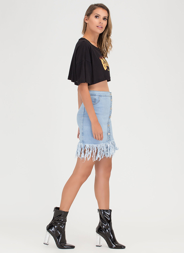 Fray Around Button-Up Denim Skirt LTBLUE