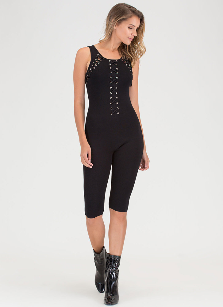 Chic X-ample Cropped Knit Jumpsuit BLACK