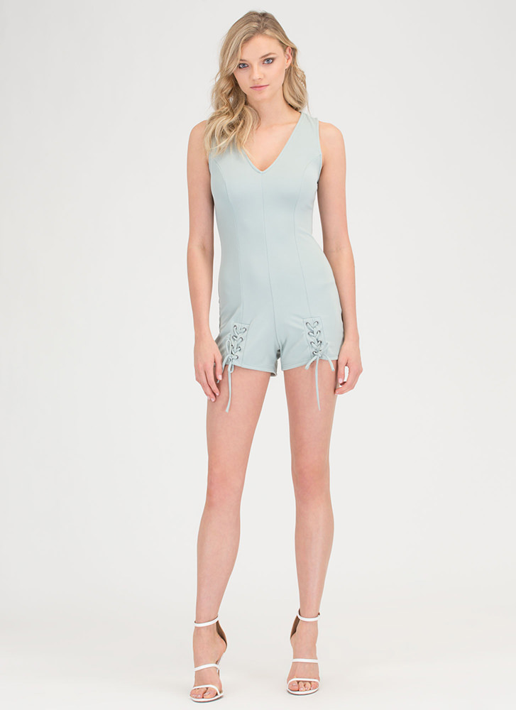 Effortless Style Lace-Up Romper SAGE