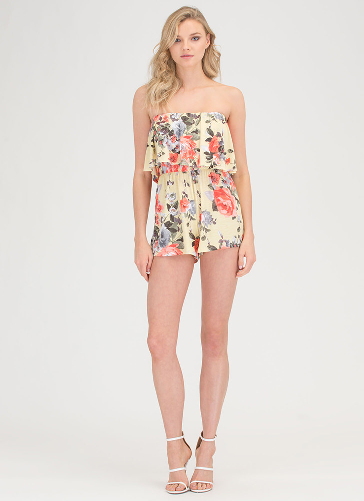 Afternoon Party Strapless Floral Romper YELLOW