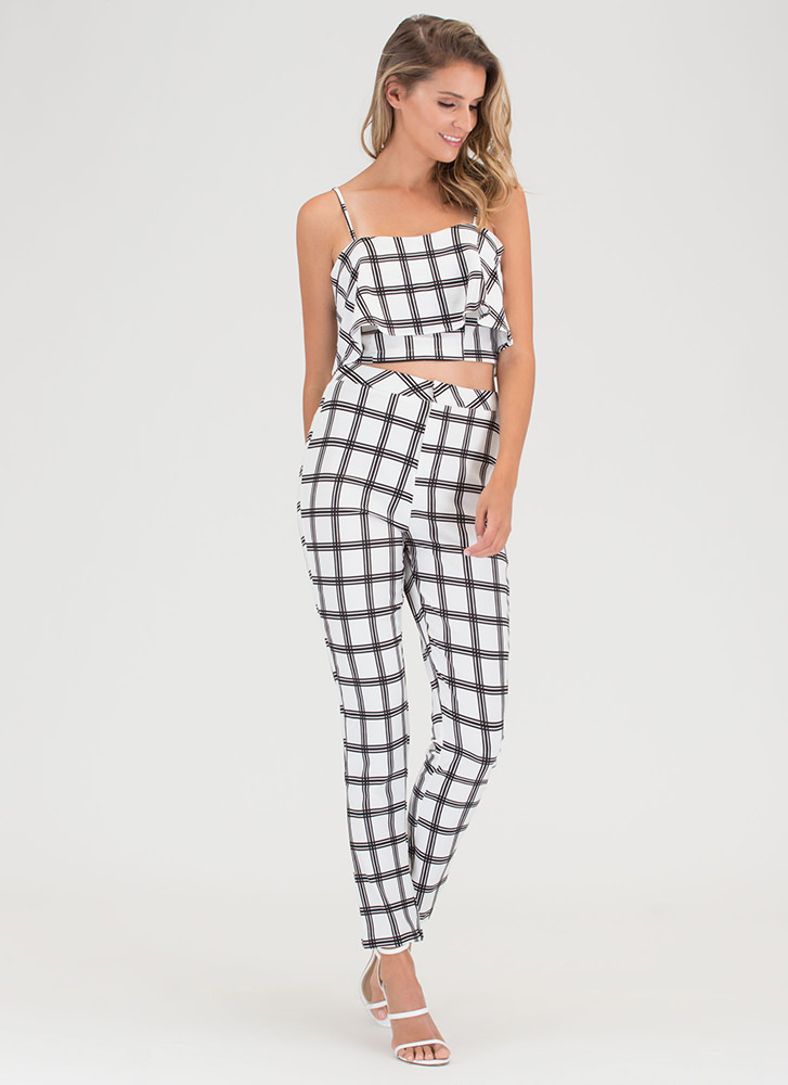 Plaid Rush Top 'N Bottom Set WHITEBLACK