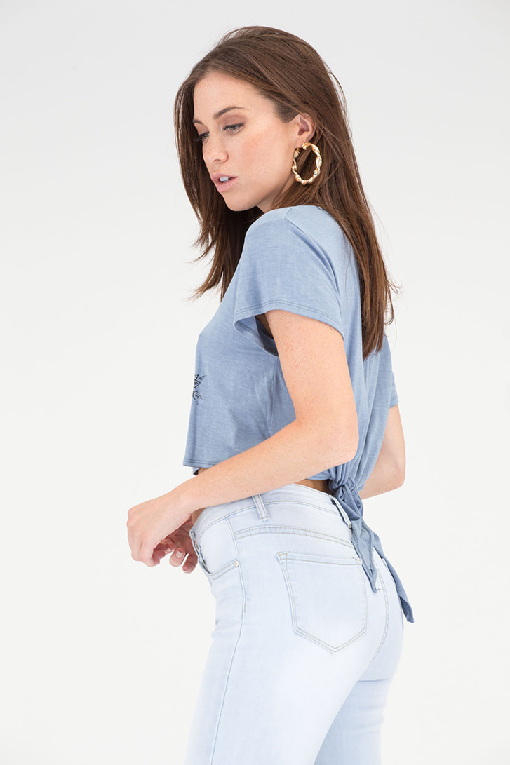 Love Hurts Graphic Heart Tie-Back Top BLUE