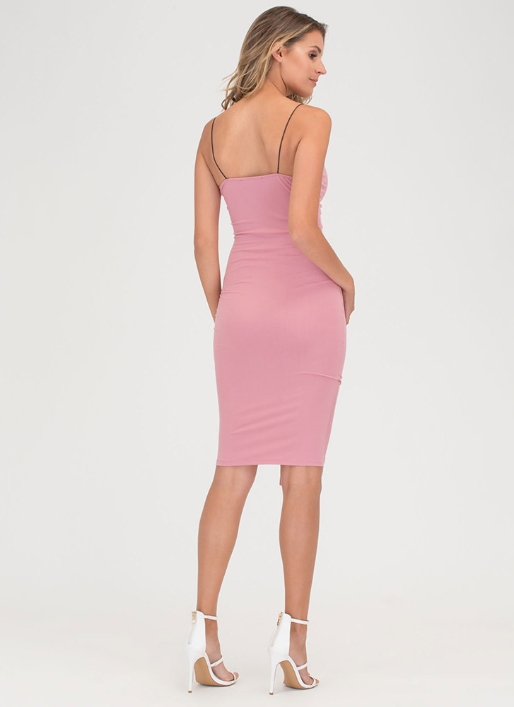 Pull An Attitude Ruched Midi Dress ROSE