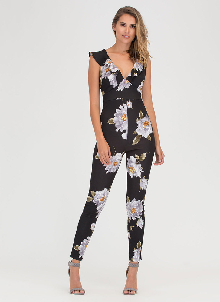 Flower Of Good Ruffled Jumpsuit BLACK